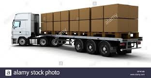 100 Truck Shipping 3D Render Of HGV Cardboard Boxes Stock Photo