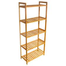 hengda holzregal 5 b den standregal wandregal aus bambus aufbewahrung haushaltsregal fš r bad kš che flur sauna lagerregal 126 3 49 4 25cm