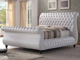 Brilliant Swan White Leather Sleigh Bed Chesterfield 6ft
