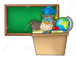 bureau enseignant hibou enseignant derrière le bureau illustration de couleur