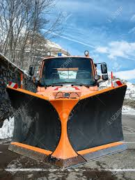 100 Snow Plows For Small Trucks Orange Truck Using Plow Stock Photo Picture And Royalty