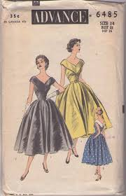 Advance 6485 Vintage 50s Sewing Pattern INCREDIBLE Rockabilly Era Mad Men Low Cut V Neck
