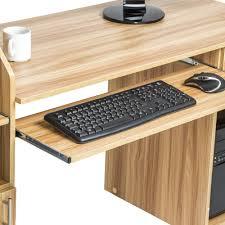 bureau informatique bureau informatique multimédia 163 cm en marron hêtre tectake