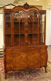 Curved Glass Curio Cabinet Antique by Antique Cabinets Bookcases