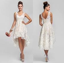 Short Country Wedding Dresses Discount Vintage Full Lace 2016 V Neck