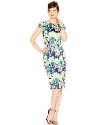 betsey johnson floral print midi scuba sheath dress in blue lyst