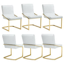 Modern White Rose Gold Dining Chair And Chairs Furniture ...