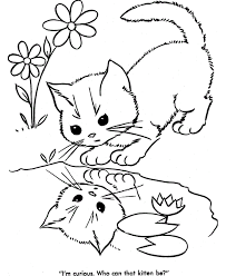 Lovely Kitty Cat Coloring Pages 41 For Line Drawings With