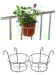 1Pcs Round Rustic Cast Iron Hanging Flower Basket Pot Holder Heavy Metal Outdoor Garden Plant