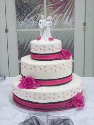 Hot pink and black wedding cake