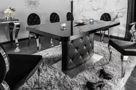 casa padrino esstisch schwarz silber 160 200 x 90 x h 76 cm moderner ausziehbarer küchentisch mit kunstleder und strasssteinen esszimmer möbel