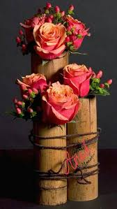 Bamboo Vases And Flower Wedding Centerpiece Idea