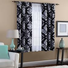 Gray Chevron Curtains Living Room by Classic Noir Black And White Window Curtain Walmart Com
