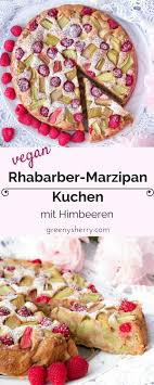 veganer rhabarber himbeer marzipan kuchen wie bei