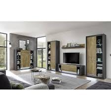 wohnzimmer wohnwand set in fresco grau matt und kastanienbraun tirana