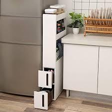 songmics nischenwagen schmal mit 3 ablagefächern und 2 schubladen nischenschrank mit rollen für küche bad und keller 17 cm breit weiß kfr06wt
