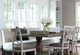 Dining Tables With Benches Backs Table Upholstered Bench And Chairs Transitional Regard To