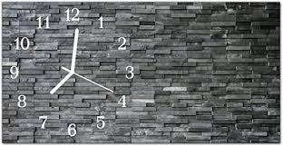 dekoglas glasuhr steinwand grau uhr aus echtglas eckig große motiv wanduhr 60x30 cm lautlos für wohnzimmer küche
