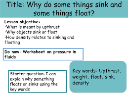 Materials Sink Or Float by Floating Sinking And Density By Meganh1993 Teaching Resources Tes