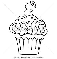 cake outline cake with strawberry cupcake drawn in outline isolated on white vector cake drawing templates