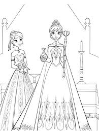 Princess Anna Standing Beside Queen Elsa Coloring Pages
