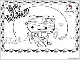 Cartoon Of Hello Kitty Halloween Coloring Page