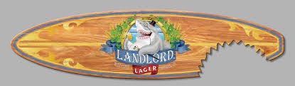Decorative Surfboard With Shark Bite 5ft landlord lager surfboard sign with shark bite wall art
