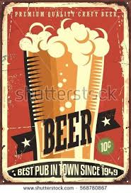 Beer Advertising On Old Metal Background With Glass Of And Creative Typography Vintage Pub