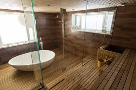 wood in the bathroom walls floors and furniture mastella