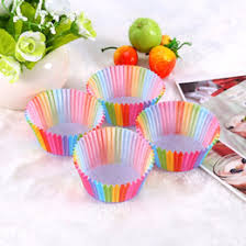 100 Pcs Rainbow Color Cupcake Liner Paper Baking Cup Muffin Cases Cake Mold Small Box Tray Decorating Tools