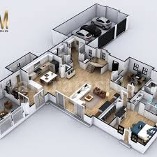 100 Modern Architecture House Floor Plans 4bedroom Simple Residential 3D Home Plan