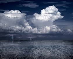 Lightning Storm Over Sea Stock Photo