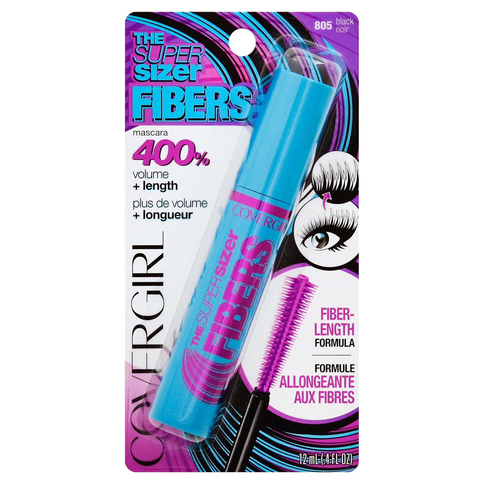 Covergirl the Super Sizer Fibers Mascara - Black, 0.35 fl oz