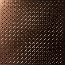 Ceilume Stratford Ceiling Tiles by Ceilume Diamond Plate Faux Copper 2 Ft X 2 Ft Lay In Or Glue Up