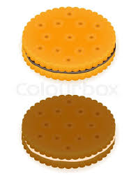 Crispy biscuit cookie illustration isolated on gray background Stock