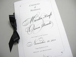Wedding Program Booklet Elegant Black White Custom Classic