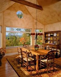 Tuscan Decor Earthy Colors Solid Wood Chairs Table Rustic Carpet Plastered Wall