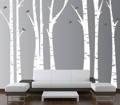Wall Mural Decals Nursery by Birch Tree Forest Set Vinyl Wall Decal Birds 1295