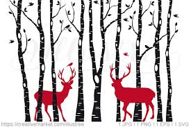 Christmas Deer In Birch Tree Forest