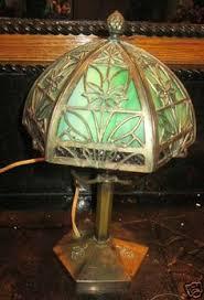 Ebay Antique Lamps Vintage by 1900s Bradley U0026 Hubbard Pine Cone Overlay Slag Glass Arts U0026 Crafts