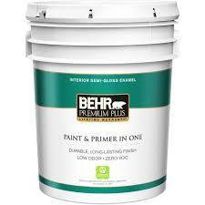 BEHR Premium Plus 5 gal Ultra Pure White Semi Gloss Enamel Zero