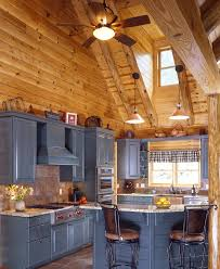 amazing rustic log cabin kitchen design with grey kitchen cabinets
