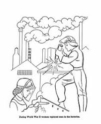 US History Coloring Page Women Working In Factories During WWII