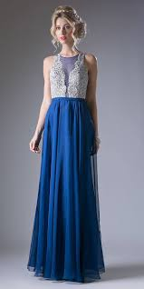 long chiffon prom gown with embroidered bodice illusion neck navy