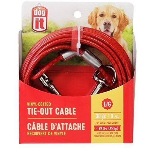 Dogit Tie-Out Cable, Red, Large, 30-ft