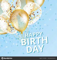 Balloons happy birthday on black Gold and blue balloon sparkles holiday background Happy Birthday to you logo card banner web design