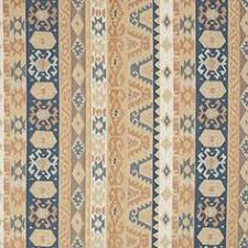 Sand Beige Tan And Coral Blue Vintage Look Aztec Cabin Southern Chenille Upholstery Fabric By The