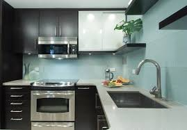 clear glass tile backsplash kitchen contemporary with aqua