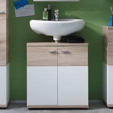 trendteam smart living badezimmer waschbeckenunterschrank unterschrank cus 60 x 65 x 35 cm in weiß eiche san remo nb mit viel stauraum