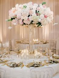 Tall Flower Arrangement With White Hydrangea Rose Dahlia Flowers